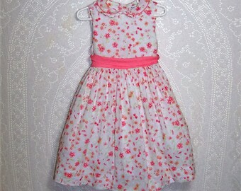 Size 4T - Little Girls' Dress - by Maggie & Zoe - Coral - Floral - Dotted Swiss - 100% Cotton with Nylon netting