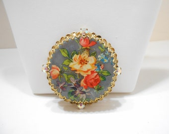 Gorgeous Vintage 3-D Floral Print Brooch (1163) Aurora Borealis Rhinestones--Possibly W. Germany