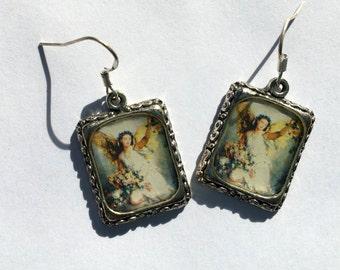 Angel Earrings Jewelry Art Piece Silver Square