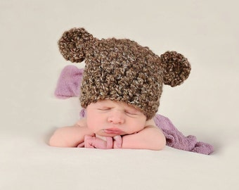 Bear Baby Hat 0 - 3 Month Baby Girl Hat Baby Boy Hat Baby Bear Hat Brown Animal Ear Hat Baby Ear Hat Photo Prop Photography Prop Baby Gift