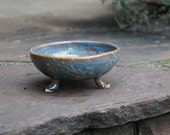 Blue Amber Bowl with vine design, Candy Dish, Soap Dish, Trinket Dish, Prep Bowl - Stoneware Pottery, Hand thrown