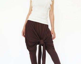 NO.183 Brown Rayon Spandex Stylish Twist Front Pants, Drop Crotch Tapered Trousers, Women's Pants
