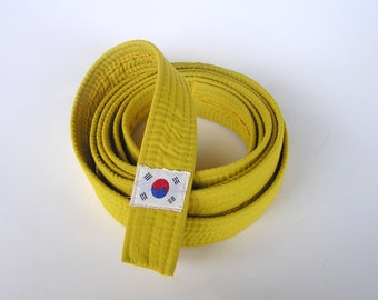 Vintage Yellow Martial Arts Belt . Quilted Cotton Belt . Blue & Red Yin-Yang . Korean National Flag