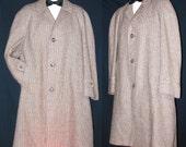 Vtg 60s-70's Gray-Brown ~HARRIS TWEED~ Hand Woven Scottish Wool Men's Overcoat  XL