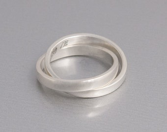 Sterling Silver Interlocking Ring, Rolling Ring, Silver Double Ring