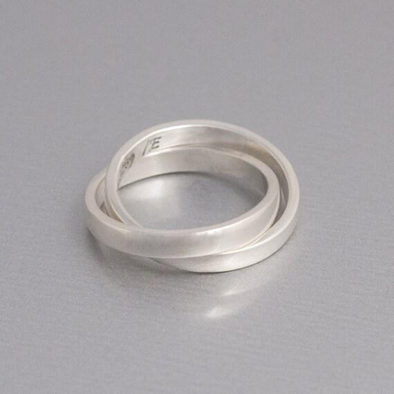 sterling silver interlocking ring rolling ring silver