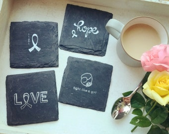 Fighting Cancer Awareness Slate Coasters (Set of 4) cancer, hope, encouragement, breast cancer, fighter, cancer warrior