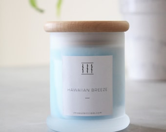 Three Silent Trees | Hawaiian breeze soy candle | small frosted tumbler