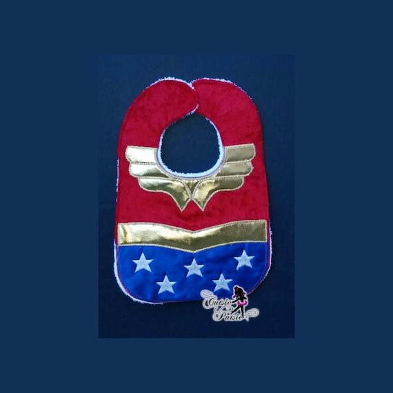 Baby Bib Baby Wonder Woman Bib Baby Superhero Baby by CutsiePutsie