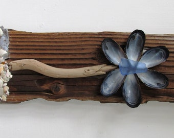Driftwood and Shell Flower, Reclaimed Wood Flower, Driftwood Art, Gift, Rustic Home Decor, Beach Home Decor