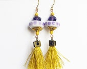 Boho Fringe Earrings, Gold tassel Earrings , Silver tassel, Gypsy, Textile jewelry, Ceramic Jewelry, CHOOSE YOUR COLOR Purple or Blue Teal