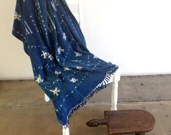 "Mossi Indigo Shibori Dyed Bogolanfini Cotton Mudcloth with Stars Motif + Fringe from Mali | 65"" x 49"""