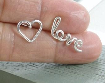 Love and Heart Earrings, Personalized Sterling Silver Wire Name Earrings, Cursive Earrings, Personalized Earrings, Custom Earrings