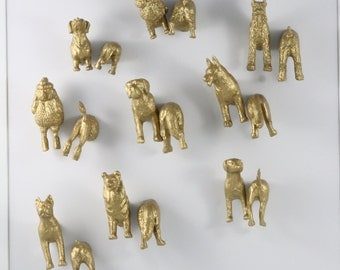 Large Dog Magnet Set - 18 magnets (9 head pieces and 9 butt pieces) - Animal Magnet set