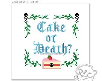 Cake or death? Modern comedy Eddie Izzard Quote Cross Stitch Pattern. Digital Download PDF.