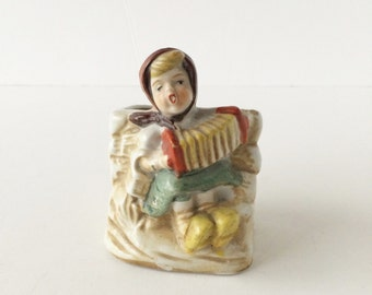Vintage Ceramic Hummel Style Kitchen Match Holder Toothpick Holder, 1940s Girl With Accordion Match Holder Vase Art Brushes Pencil Holder