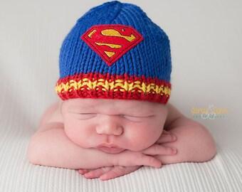 Superman Hat, Baby Superman Hat, Newborn Superman Hat, Baby Super Hero Hat, Superman Baby Beanie, Baby Boy Knit Hat, Baby Boy Blue Beanie
