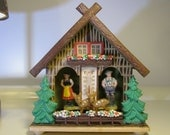 Vintage Bambi Deer West German Black Forrest Weather Station Chalet House Thermometer middle size  Made in Germany