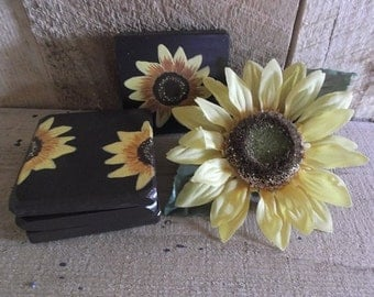 coasters-wooden, painted, sunflower