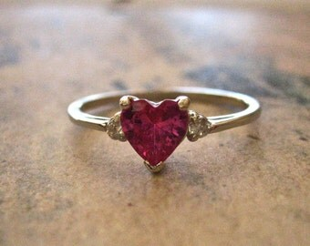 Vintage Deep Pink CZ Heart Ring