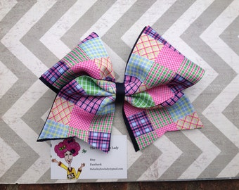 Ready to Ship Madras Plaid Cheer Bow