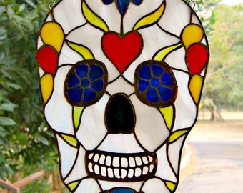Sugar Skull Dia de los Muertos Stained Glass Skull Day of the Dead Celebration Stained Glass Sugar Skull Halloween Decor