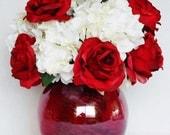 Artificial Flower Arrangement, Red Roses, White Hydrangea, Red Globe Style Vase, Silk Flower Arrangement, Silk Floral Home Decor, Decor,