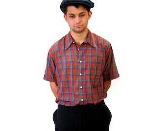 70s Plaid Shirt, Men's Short Sleeve Shirt, size Large, Vintage Gant Blue Red Plaid Shirt