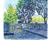 Paris Landscape, Paris Cityscape, Bicycle, Bike, Seine River, Paris Watercolor, Watercolor Landscape, Watercolor Cityscape