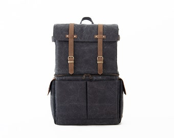 PRE ORDER - JOURNEYMAN Camera Laptop Backpack / Gray Canvas