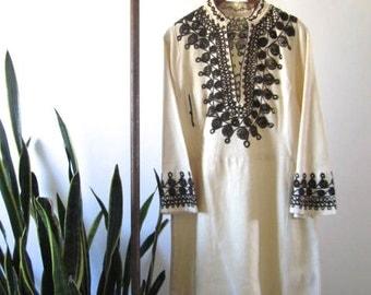 Handmade Vintage Boho Chic Embroidered Dress
