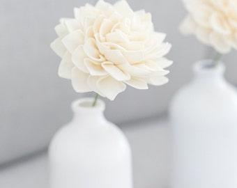 "5 - 4"" Wooden Dahlia Flowers on Stems, Flower Stems, Cream Artificial Flowers, Bouquet Flowers"