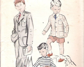 "Vintage 1950's Butterick 5838 Boys' Suit:Short or Long Trousers Sewing Pattern Size 1 Chest 20"" UNCUT"