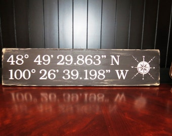 Black Latitude Longitude Coordinates Sign - Nautical, Beach, Rustic, GPS location sign, custom wood coordinates sign