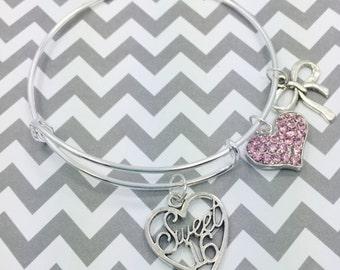 Bangle Charm Bracelet, Sweet 16