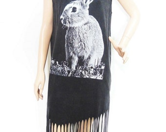 Rabbit Bunny T Shirt Graphic Maxi Dress Poncho Tassel Dress bleached TShirt Black Shirt Screen Print (Measurements - fits great from S - M)