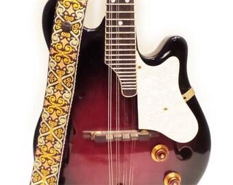 ON SALE - Mandolin Strap or Ukulele Strap - Sepia Vintage Style Woven Ribbon on Organic Hemp Webbing and Leather Ends - 1 or 2 peg
