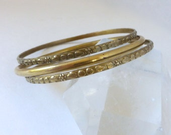 Vintage 1970's Engraved/Stamped Abstract Floral Beaded Patterned Brass Bangle Classic Set of 3