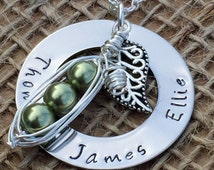 Pea Pod Keepsake Necklace, Gift for Mum, Mothers Day Necklace