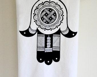 Hamsa Tea Towel: Navy Blue or Black Hand Printed Flour Sack  Towel, Mehndi Style Henna Illustration by Mehndi NYC, Mandala, Judaica