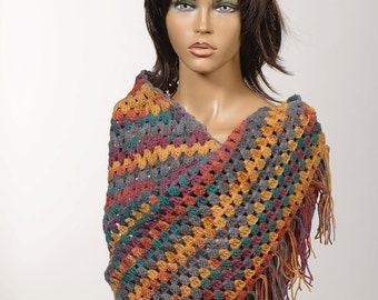 Winter Shawl. COLORFUL Crochet Shawl. Autumn wrap. Oversize scarf.