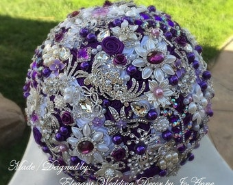 PURPLE BROOCH BOUQUET, Purple and Silver Wedding Bouquet, Custom Brooch Bouquet, Keepsake Brides Bouquet, Brooch Bouquet, Deposit