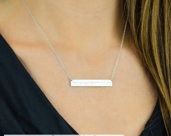 Custom Handwriting bar Necklace, Kids Drawing Mom Personalized Bar Necklace, Personalized Necklace, name Necklace, Custom Gold Bar Necklace