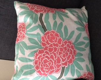 Caitlin Wilson Mint Fleur Chinoise Pillow Button Closure 18x18