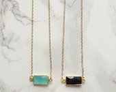 Small Rectangle Gemstone Necklace