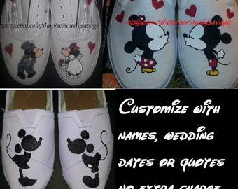 Kissing Mickey Minnie Mouse Custom Painted Toms Vans Cute Shoes For your wedding or Disneyland / Disney World Vacation - by SeriouslySavage