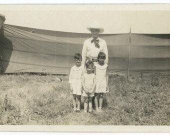 Children Pose with Circus Performer, 1929 Vintage Snapshot Photo (511431)