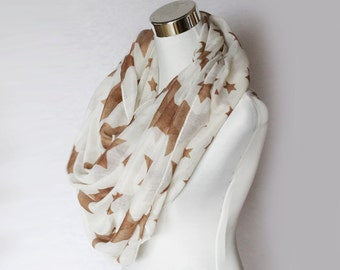 Brown Stars Extra Large Lightweight Summer Scarf -  Light Rayon Scarf Shawl Scarves schal Autumn Soft Boho  sky universe breathable  gift