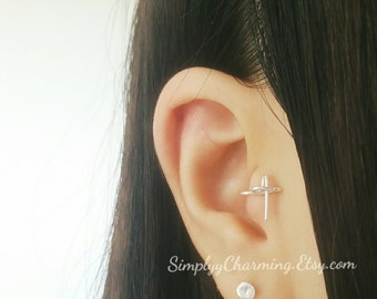 Tiny Cross Tragus Ear Cuff Earring Clip On Fake Earring Or Real, You Choose - Sterling Silver/14K Gold Filled