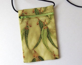 Pouch Zip Bag Australian Gum Leaves Fabric.  Great for walkers, markets, travel. Cell Phone Pouch. Green Evening Purse. sling bag.